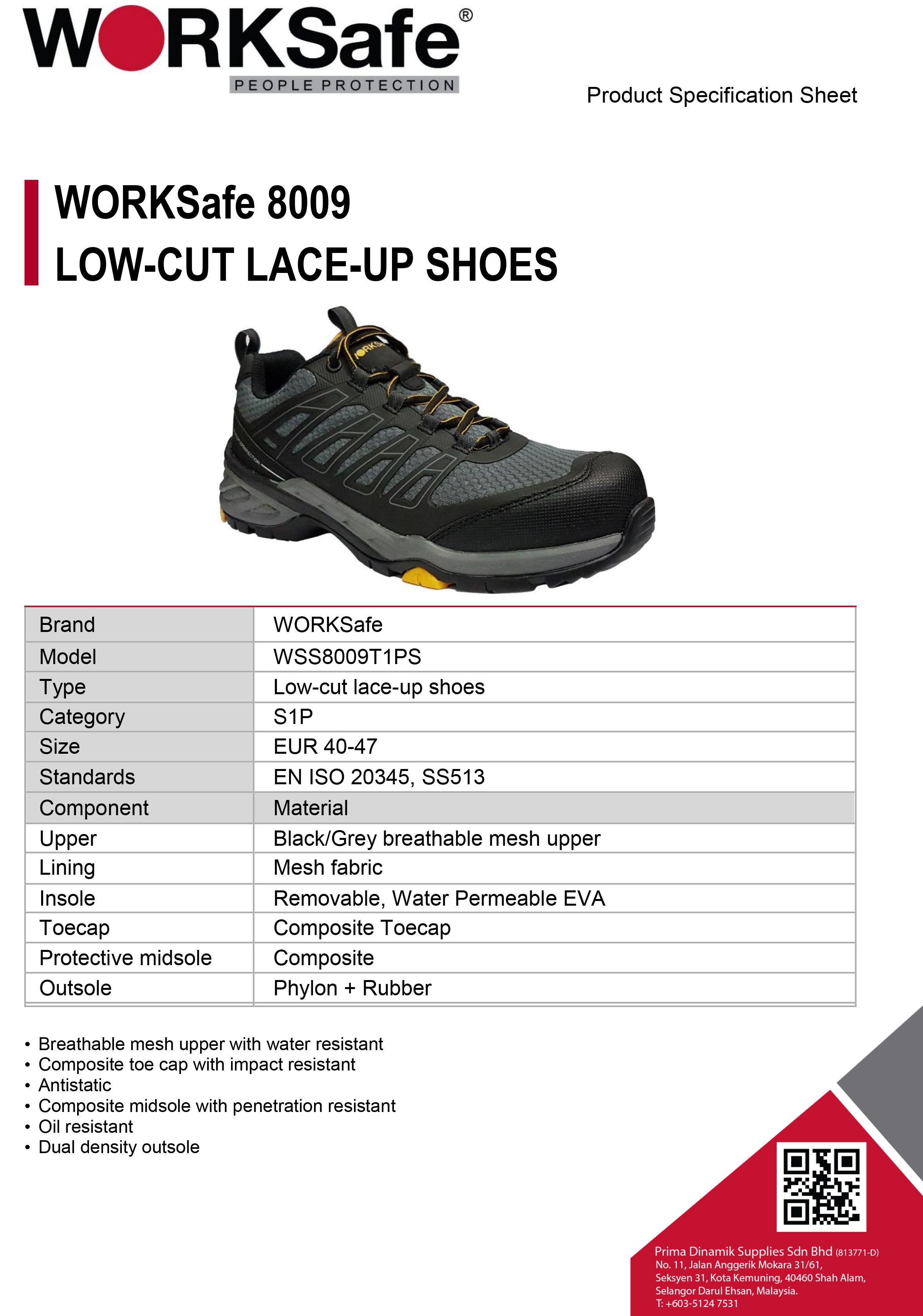 WORKSafe 8009 LOW-CUT LACE-UP SHOES - Prima Dinamik Supplies Sdn Bhd (PDS Safety)