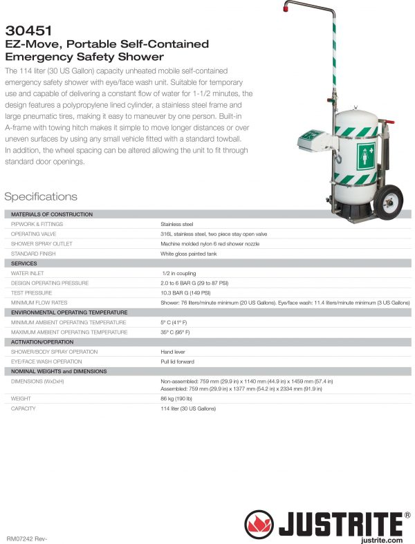 JUSTRITE 30451 EZ-Move, Portable Self-Contained Emergency Safety Shower Specification @ Prima Dinamik