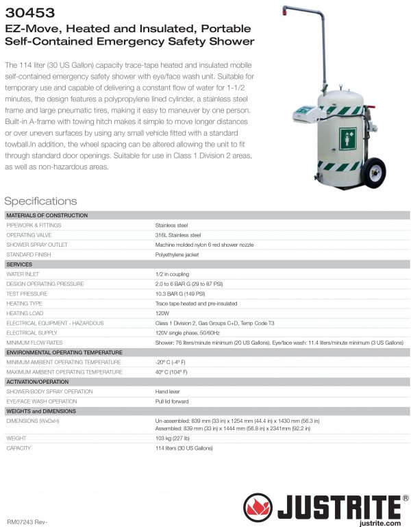 JUSTRITE 30453 MOBILE SELF-CONTAINED EMERGENCY SAFETY SHOWER W/EYE/FACEWASH, EZ-MOVE, HEATED, 30 GAL, 120V Specification @ Prima Dinamik