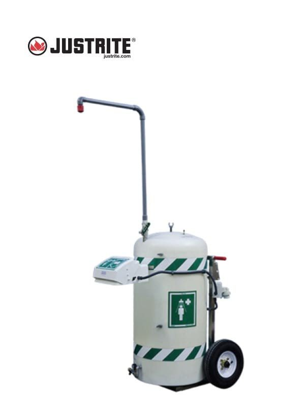 JUSTRITE 30453 MOBILE SELF-CONTAINED EMERGENCY SAFETY SHOWER W/EYE/FACEWASH, EZ-MOVE, HEATED, 30 GAL, 120V @ Prima Dinamik