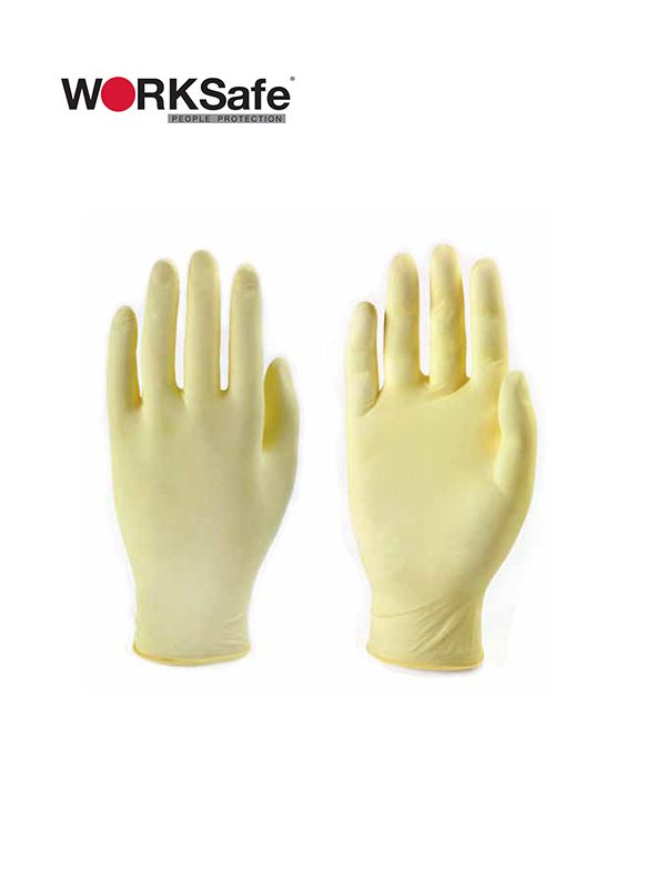 WORKSafe® Disposable Latex Safety Gloves Powder Free