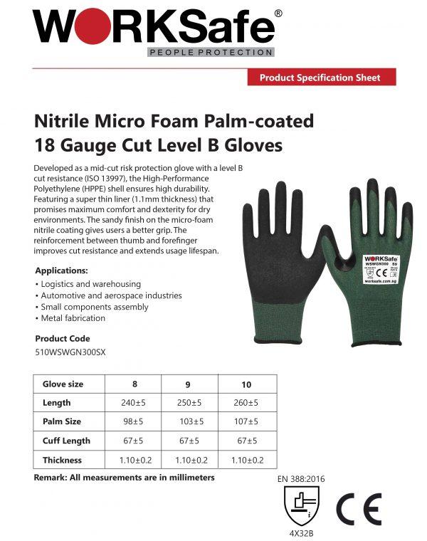 WORKSafe® Nitrile Micro Foam Palm-coated 18 Gauge Cut Level B Gloves Specification @ Prima Dinamik