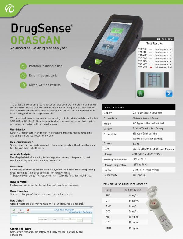 DrugSense ORASCAN Advanced saliva drug test analyser Fact Sheet v2 @ Prima Dinamik