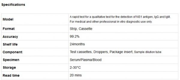 Dengue Combo Rapid Test Cassette With High Precise / Accurate