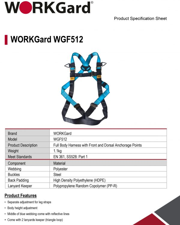 WORKGard® Full Body Harness with Front and Dorsal Anchorage Points Specification