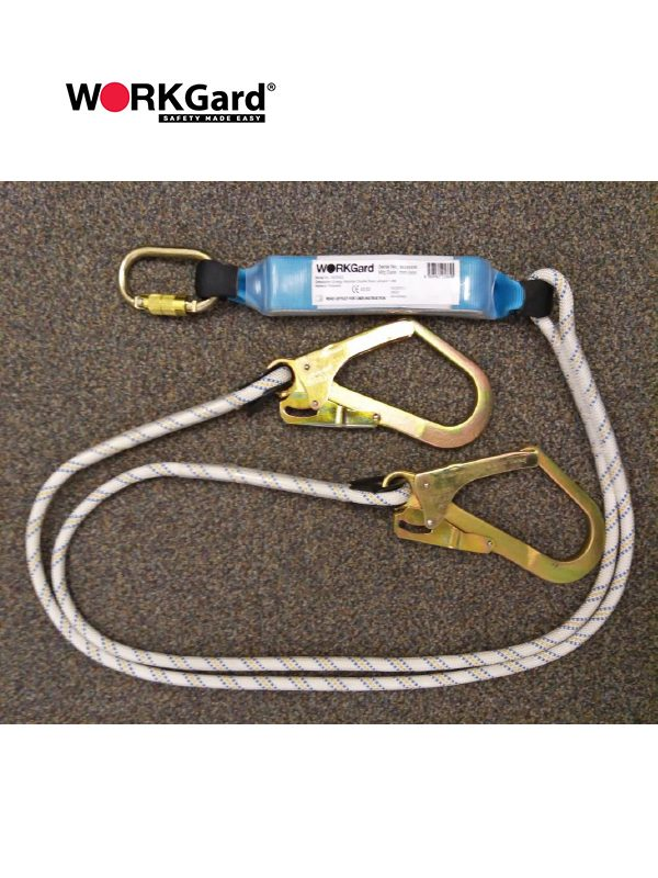 WORKGard Energy Absorber Double Lanyards with Scaffold Hooks and Twist Lock Karabiner