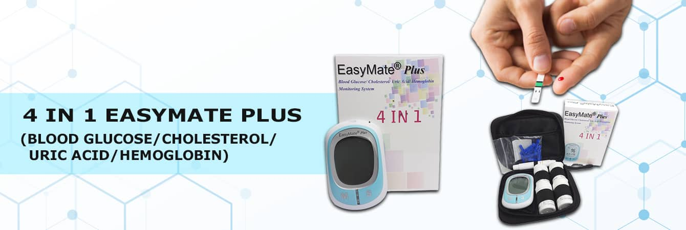 4 in 1 EasyMate Plus (Blood Glucose/Cholesterol/Uric Acid/Hemoglobin) Monitoring System