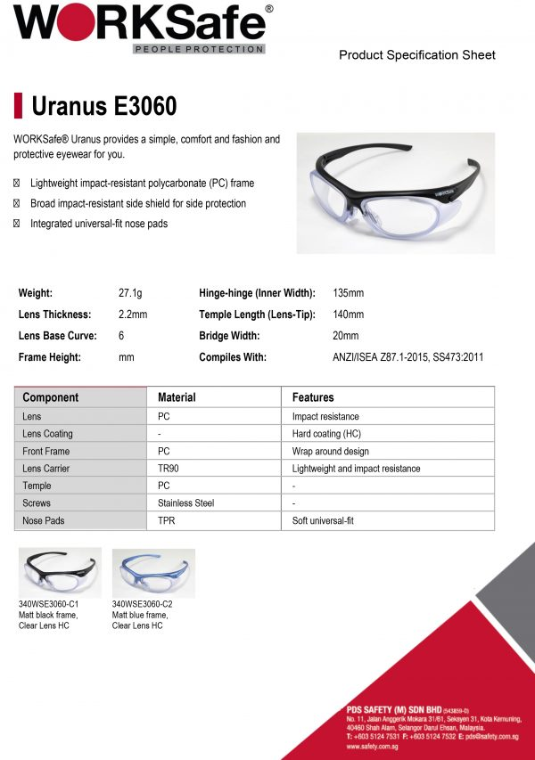 WORKSafe® URANUS E3060 Safety Eyewear - Product Description