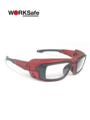 Matt Red Frame WORKSafe® VECTOR Safety Eyewear - Prima Dinamik Safety Eyewear Distributor