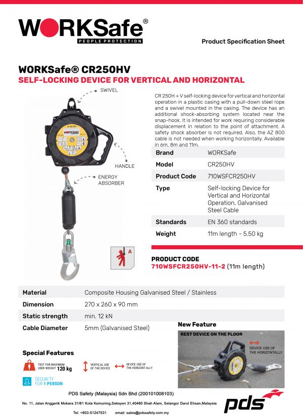 WORKSafe® CR250HV Self-Locking Device For Vertical And Horizontal - Product Description